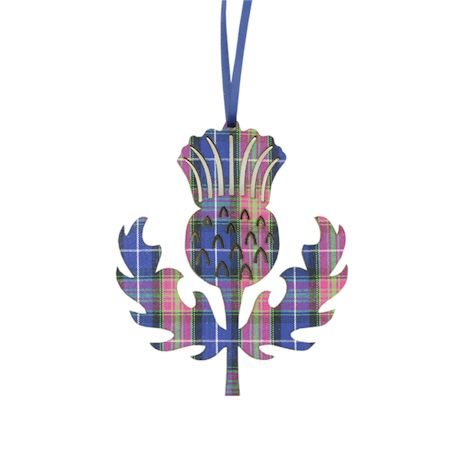 Purple Heather Thistle Scottish Plaid Ornaments