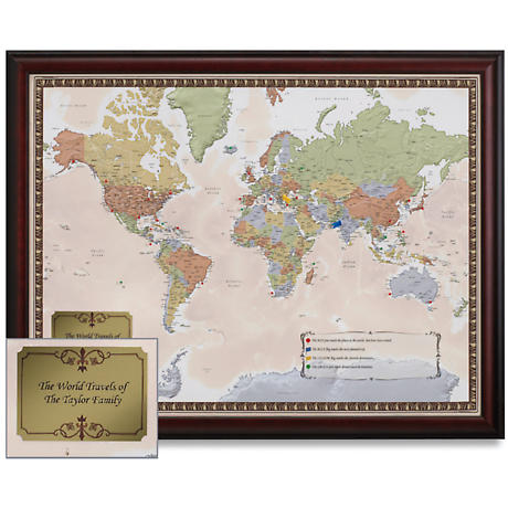 Personalized Usa Map.Framed Personalized U S A Traveler Map At Catalog Classics Hf1862