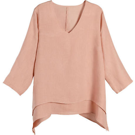 Double Layered Linen Easy Fit Tunic Top
