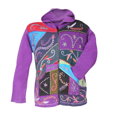 Embroidered Full-Zip Hoodie Sweatshirt