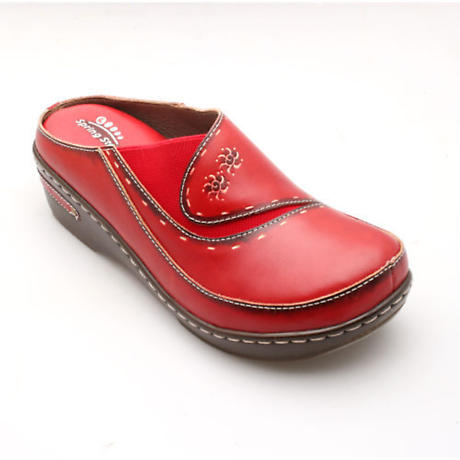 Open-Back Hand-Painted Leather CLogs