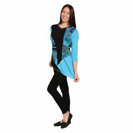 Asymmetrical Tunic Top - Blue and Black Flowers