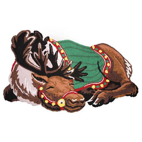 Sleeping Reindeer Hooked Rug