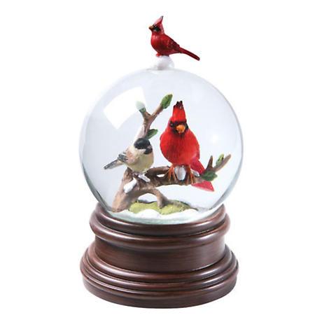 Cardinal & Chickadee Musical Snowglobe