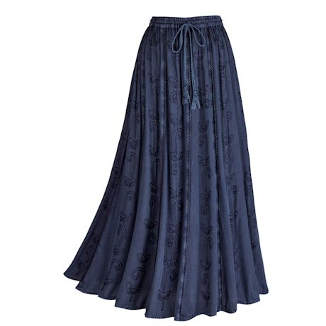 Over-Dyed Enzyme Wash Embroidered Denim Skirt