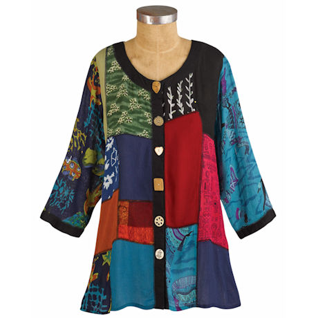 Novelty Patch Open Front Printed Jacket