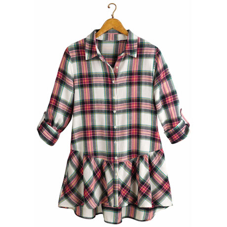 Pink Plaid Flannel Button Down Roll Tab Sleeve Shirt