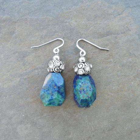 Chrysocolla Nuggets Earrings