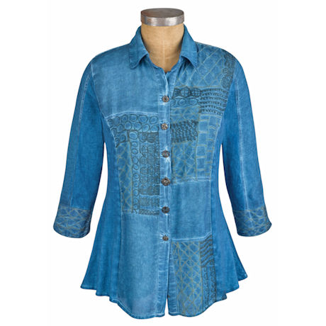 Perfectly Poetic Chambray Denim Button Down Tunic