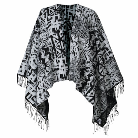 Parsley & Sage Fresque Patterned Long Fringed Black & Grey Cape Wrap