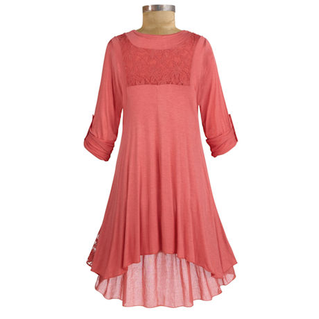 Womens 36in. Long Roll-Tab Sleeve Lace Coral Tunic - Plus Sizes