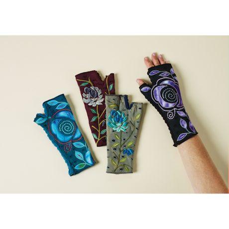 Folk Art Fingerless Walking Gloves