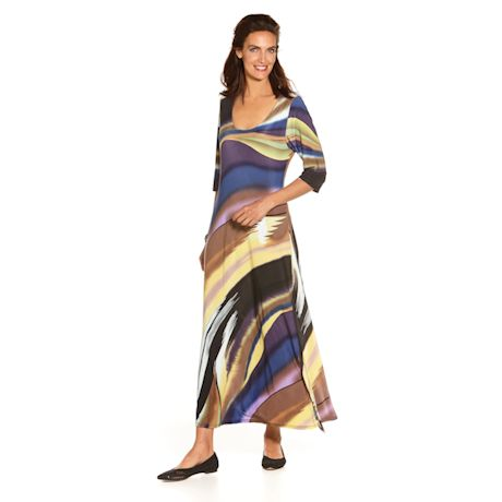 Canyon Sky Sleeve Maxi Dress - 3/4 Sleeve