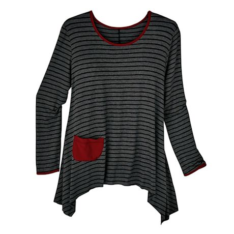 Charcoal Stripe Long Sleeve Top