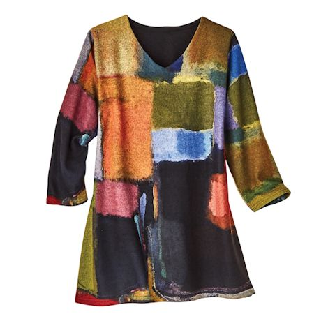Watercolor Blocks Brushed Pullover Tunic - 3/4 Sleeves