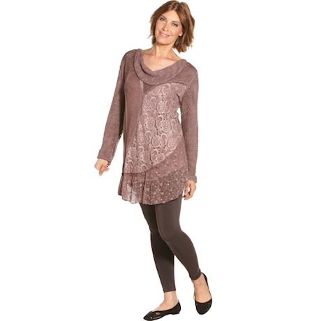 Mixed Mauves Lace Knit Cowl Neck Tunic