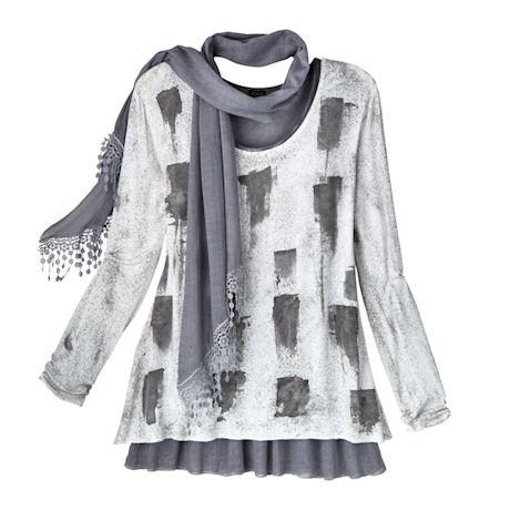 Women's Artsy Charcoal Gray & White Tunic & Scarf Set