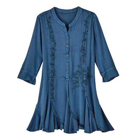 Prussian Blue Embroidered Tunic