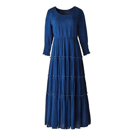 Indigo Crinkle Maxi Dress