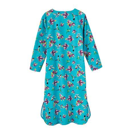 Hummingbirds & Roses Flannel Nightshirt