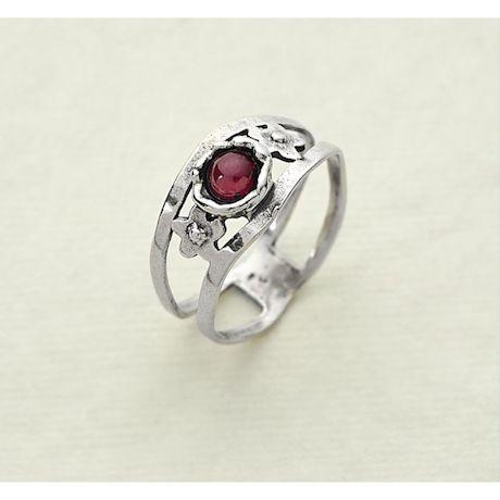 Garnet 'N Sterling Open-Band Ring
