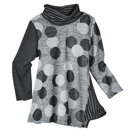 Stripe And Dots Knit Cowl Tunic