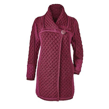 Irish Wool Cable-Knit Sweater Coat at Catalog Classics | LF9976