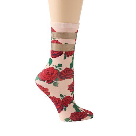 Mesh Stripe Floral Socks
