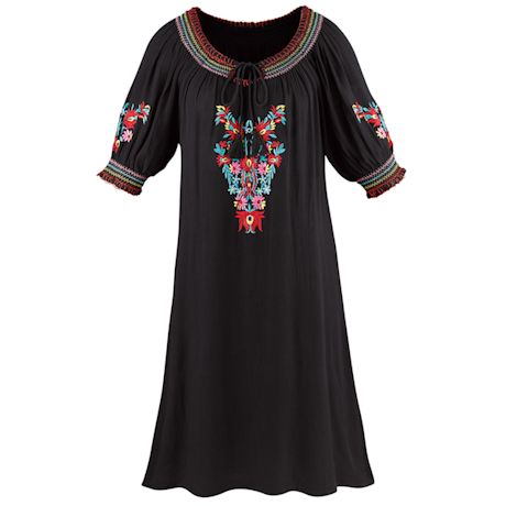 Colorful Embroidered Gauze Peasant Dress