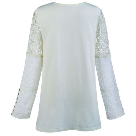 Sunrise Embroidery With Lace Sleeves Tunic