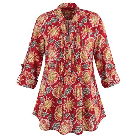 Red Sunflowers Cotton Shirt