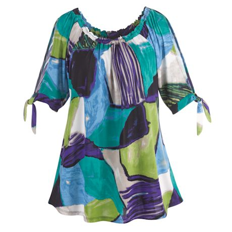 Open Tie-Sleeve Painted Sky Tunic