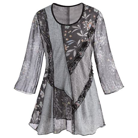 Patchwork Playground Lace & Floral Tunic-3/4 Bell Sleeve