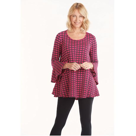 Honeycomb Knit Bell-Sleeve Swing Tunic