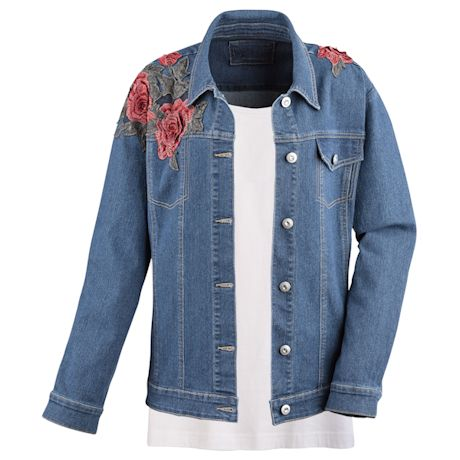 Oversize Denim Jacket With Embroidery