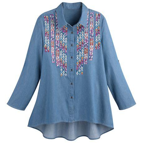 Denim Big Shirt Zig-Zag Embroidery