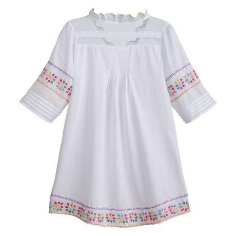 Hand Embroidered Gauzy White Tunic