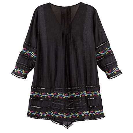 Hand Embroidered Midnight Long Tunic