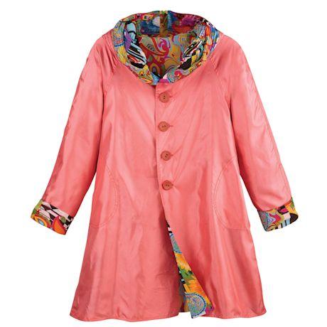 Reversible Print-To-Solid Rain Jacket