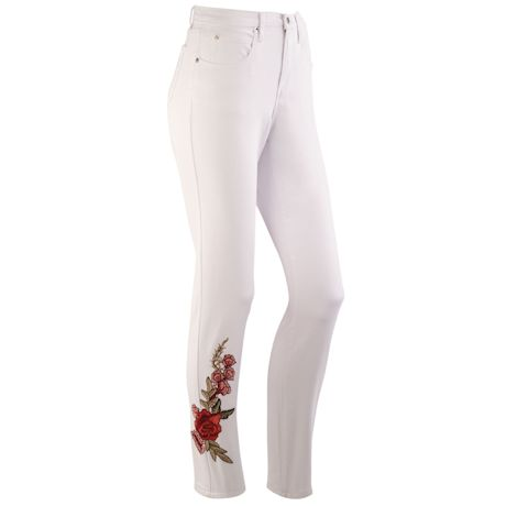 Straight Leg Tummy-Support Embroidered Jeans
