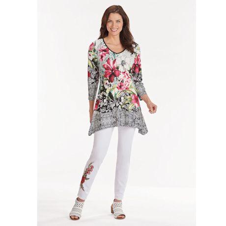 Floral Fantazia Watercolor V-Neck Tunic-3/4 Sleeve