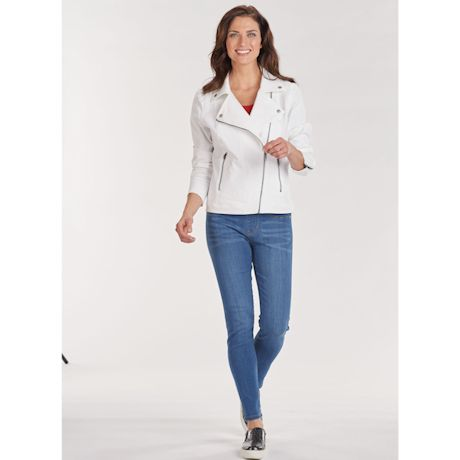 White Stretch Moto-Zip Jean Jacket