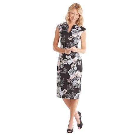 Scuba Neckline Printed Midi Sheath Dress