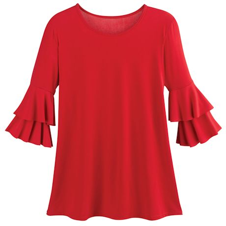 Double-Tier Sleeve Ruffle Sleeve Solid Top