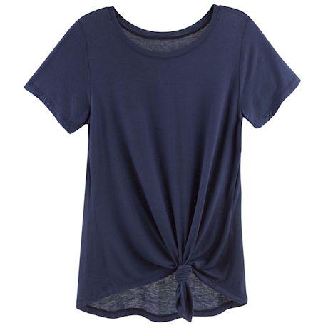 Soft-Spun Knit Tunic Tee With A Twist
