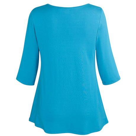 Bamboo Layering Tunic Top - 3/4 Sleeve Long Shirt
