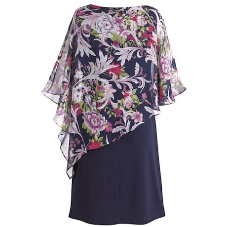 Printed Chiffon Asymmetrical Caplet Dress