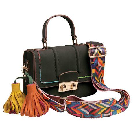 Top-Stitched Tassels Bag