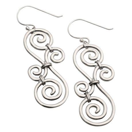 Sterling Over-Under Scroll Earrings