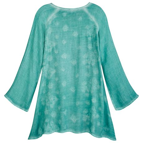 Embroidered Blooms Raglan-Sleeves Tunic
